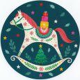 GOLLONG Schaukelpferd - Tabula Rosa Postkarte rund