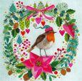 GOLLONG Robin redbreast in wreath - Mila Marquis postcard