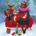 GOLLONG Weihnachtliche Tiere auf Sofa - Mila Marquis Postkarte