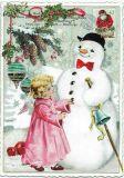 TAUSENDSCHÖN angel with snowman postcard