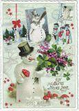TAUSENDSCHÖN Ein gutes neues Jahr / snowmen postcard