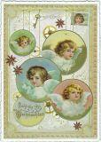 TAUSENDSCHÖN Fröhliche Weihnachten / Christmas baubles with angels postcard