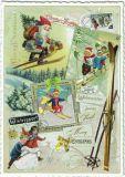 TAUSENDSCHÖN Fröhliche Weihnachten / winter sports pictures postcard