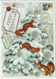TAUSENDSCHÖN Merry Christmas / tree with squirrels postcard