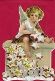 TAUSENDSCHÖN angel with lebkuchen - die-cut postcard with envelope