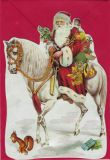 TAUSENDSCHÖN Santa Claus on horse - die-cut postcard with envelope