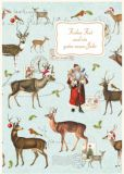 QUIRE Frohes Fest / Santa Claus + reindeers postcard