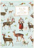 QUIRE Frohes Fest / Weihnachtsmann + Rentiere Postkarte