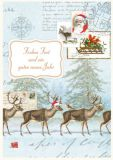 QUIRE Frohes Fest / 4 reindeers postcard