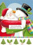 QUIRE Frohe Weihnachten / Weihnachtsmann + Schneemann knuddeln Postkarte