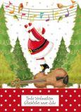 QUIRE Frohe Weihnachten / Weihnachtsmann mit Gitarre + Noten Postkarte