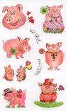 Z-Design Glücksschweine mit Goldprägung Sticker