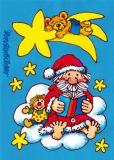 LUTZ MAUDER Weihnachtsmann auf Wolke Fensterbild Postkarte