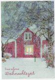 LENNART HELJE Eine schöne Weihnachtszeit / Zwerg vor rotem Haus Postkarte