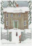 LENNART HELJE Frohe Weihnachten / Zwerg + Katze vor Hütte Postkarte