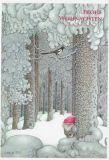 LENNART HELJE Frohe Weihnachten / Zwerg im Wald mit Vogel Postkarte