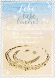 HARTUNG EDITION Lebe liebe lache! / Smiley im Sand IN TOUCH Postkarte