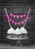 HARTUNG EDITION Cupcakes mit pinker Birthday Girlande Kontraste Postkarte