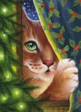 ACARDS Katze hinter Vorhang Weihnachten - Irina Garmashova Postkarte