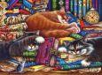 ACARDS Schlafende Katzen mit Bücher - Irina Garmashova Postkarte