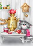 ACARDS Katze trinkt Tee - Alexey Dolotov Postkarte