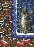 ACARDS Visitor / Katze schaut auf Vogel durchs Fenster - Irina Garmashova Postkarte