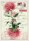 TAUSENDSCHÖN Blumenfee mit pinker Aster Postcard Postkarte