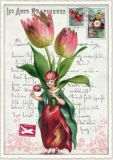 TAUSENDSCHÖN Blumenfee mit Tulpen Postcard Postkarte
