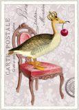 TAUSENDSCHÖN Ente mit Kirsche auf Stuhl Postkarte