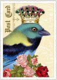 TAUSENDSCHÖN Blau/grüner Vogel mit Krone Postkarte