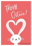GWBI Frohe Ostern / white Easter bunny with heart ears Classic Line postcard