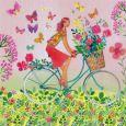 GOLLONG Frau auf Fahrrad mit Blumenkorb - Mila Marquis Postkarte