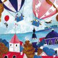 GOLLONG hot-air ballons over city at the ocean  - Cartita Design postcard