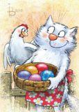 ACARDS cat with Easter eggs - Irina Zeniuk postcard