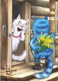 ACARDS cat with flowers in front of door - Irina Zeniuk postcard