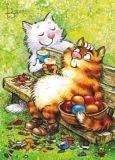 ACARDS cats eat Easter eggs - Irina Zeniuk postcard