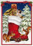 TAUSENDSCHÖN Großer Weihnachtsstiefel mit Engel + Eichhörnchen Postkarte