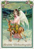 TAUSENDSCHÖN Herzliche Weihnachtsgrüße / Engel mit geschmücktem Reh Postkarte