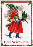 TAUSENDSCHÖN Frohe Weihnachten /  Weihnachtsmann mit Geschenkekorb auf Rücken + Weihnachtsbaum Postkarte