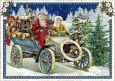 TAUSENDSCHÖN Weihnachtsmann und Engel im Auto mit vielen Geschenken Postkarte
