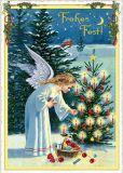 TAUSENDSCHÖN Frohes Fest / Engel zündet Kerzen am Baum an Postkarte