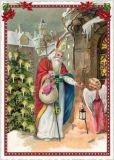 TAUSENDSCHÖN Nikolaus und Engel in Stadt Postkarte