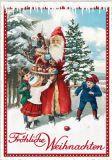 TAUSENDSCHÖN Fröhliche Weihnachten / Weihnachtsmann mit Korb + drei Kindern Postkarte