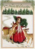 TAUSENDSCHÖN Frohe Weihnachten / Mädchen mit zwei Rehen + Weihnachtsbaum Postkarte