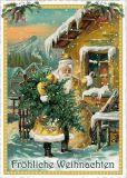 TAUSENDSCHÖN Fröhliche Weihnachten / Santa Claus in front of house postcard