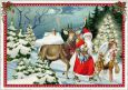 TAUSENDSCHÖN Santa Claus + angel with stag and deer in forest  postcard