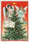 TAUSENDSCHÖN Frohe Weihnachten / 2 angels behind Christmas tree postcard