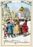 TAUSENDSCHÖN Fröhliche Weihnachten / St. Nicholas with 4 children postcard
