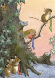 TAURUS-KUNSTKARTEN mice family + redbreast with Christmas stockings postcard