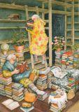 TAURUS-KUNSTKARTEN women with books - Inge Löök postcard